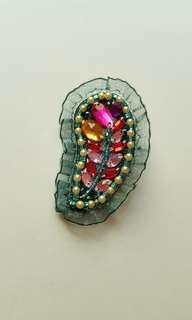 葉子造型彩鑽寶石手工設計胸針