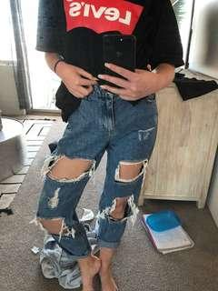 Ripped distressed boyfriend jeans