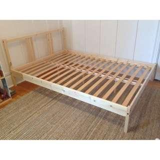 IKEA FJELLSE Queen Size Bed Frame With Luroy Slatted Base