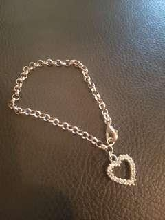 FREE POST Love Heart Silver Bracelet