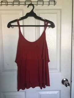 Forever21 Spaghetti Strap Red Flowy Top