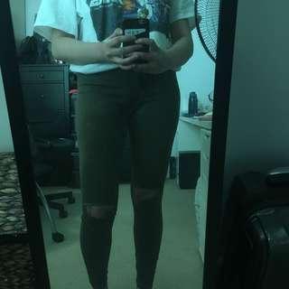 Bershka Green High-Waisted Ripped Jeans (Size 10/EU38)