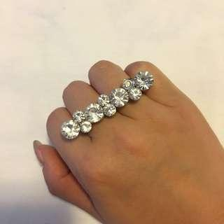 Forever 21 diamond double rings 鑽石雙指戒指