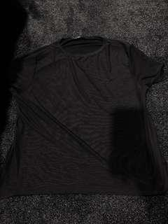 Missguided black mesh top- size 8