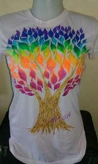 Tree of Life Handpainted Pink Tshirt Medium