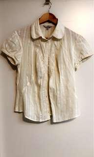 Cue cream shirt with buttons - s12