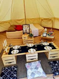 Bell tent booking service for 2pax with picnic set .