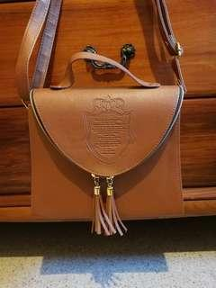 NEW Brown faux leather handbag purchased in Korea