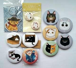 Cat theme Button Badges, Keychain Charms & Magnetic Bottle Opener #EVERYTHING18