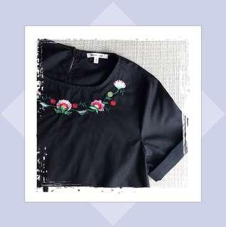 Crop Top with Embroidery in Black
