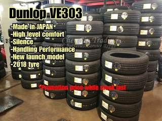 Dunlop VE303 made in Japan tyre, newly launch, promotion price, premium tyre, affordable, good quality tires, car tires