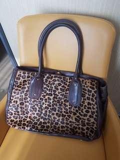 Liberation Italian pony hair+leather tote bag