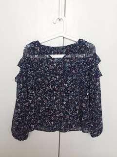 MANGO floral chiffon blouse