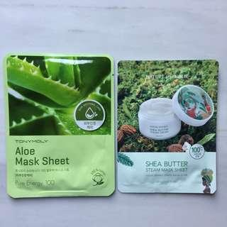(NEW) Nature Republic Shea Butter mask dan Tony Moly Aloe Mask Sheet