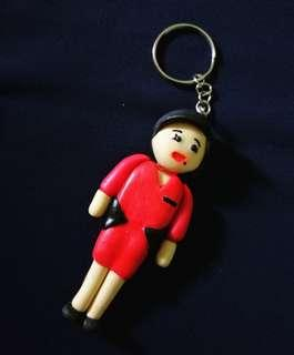 Airasia Female groundstaff Clay Keychain (price reduced CLEARANCE STOCK)