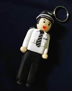 Airasia Pilot Clay Keychain (price reduced CLEARANCE STOCK)
