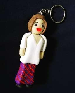 Malindo Air Stewardess Clay Keychain (price reduced CLEARANCE STOCK)