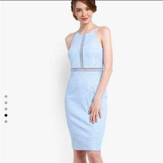 [For Rent] Light blue bridesmaid lace detail pencil dress