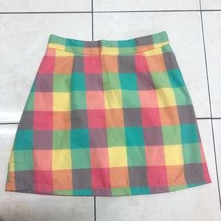 Colorful paid checker skirt