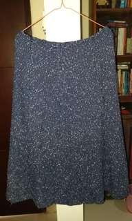 Blue tweed skirt