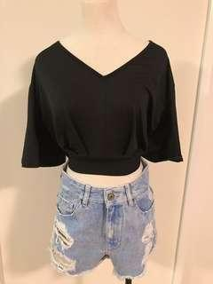 Black Cropped TOP with ribbon