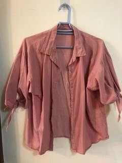 🚚 粉色丹寧襯衫,浪漫打結袖口