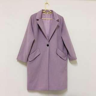 藕色 藕紫 韓製 大衣