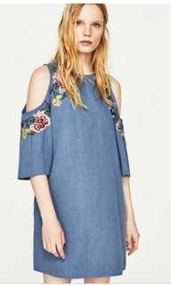 Zara Chambray Embroidered Dress