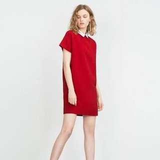 Zara Peter Pan collar dress (red)
