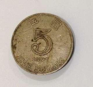 Authentic 1997 5$ HongKong Coin