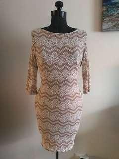 Beige/Pink Lace Dress