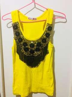 Yellow Glittered Top