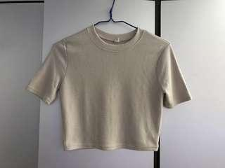 Bought at Chuu made in Korea beige tee crop top