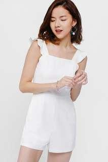 Lovebonito LB Shealle Ruffle Shoulder Playsuit in white - Size XS