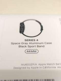 全新Apple watch s4 44mm space gray aluminum case black sport band