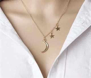 Necklace moon and star h&m forever 21 inspired gold