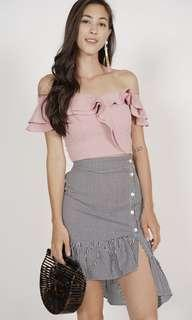 MDS Collections Flounce Ruffled Top in Pink