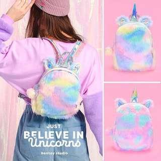 Unicorn Furry Backpack Bag( instock)