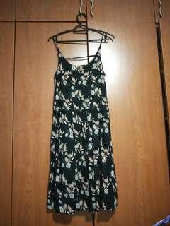 Black Spaghetti Floral Dress