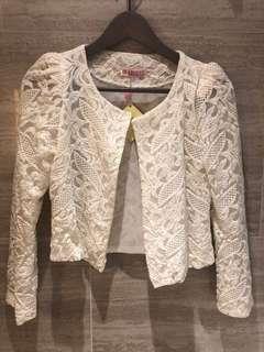 White elegant floral lace jacket