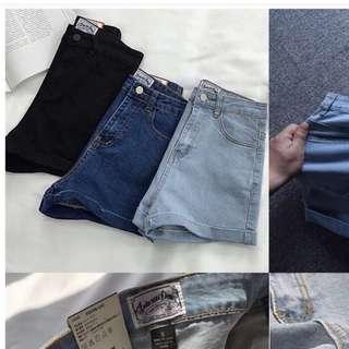 深藍AA小高腰款收腰顯瘦必備牛仔短褲熱褲m號