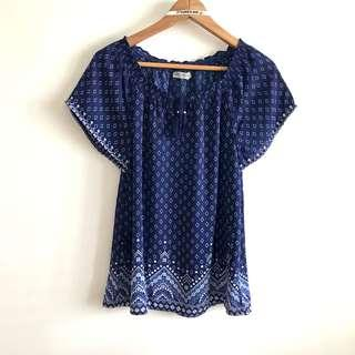 Size 10 fits S to M Navy Blue Printed Chiffon Peasant Blouse Top @sunwalker