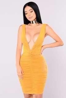 Fashion Nova Metropolitan Night Dress - Mustard