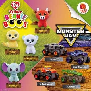 Happy meal ty beanie boo and monster jam- week 1 (peanut or blue monster)