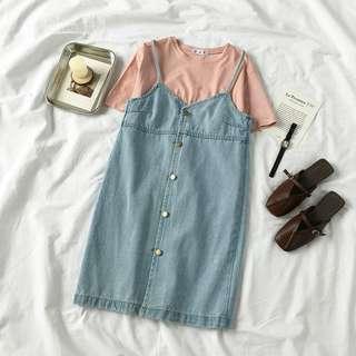 🚚 BNIP light denim dungaree dress