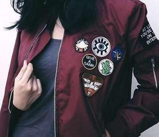 Bomber patch maroon