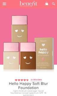 🚚 Benefit Cosmetics Hello Happy Foundation