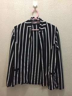 Black striped blazer with pockets
