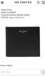 Retail $580 SGD Brand New Saint Laurent Grain Leather Bi Fold