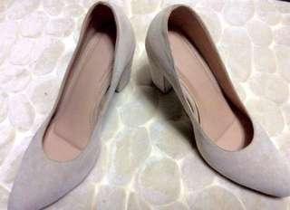 Suede Velvet Skin-tone Block Heels (with box)